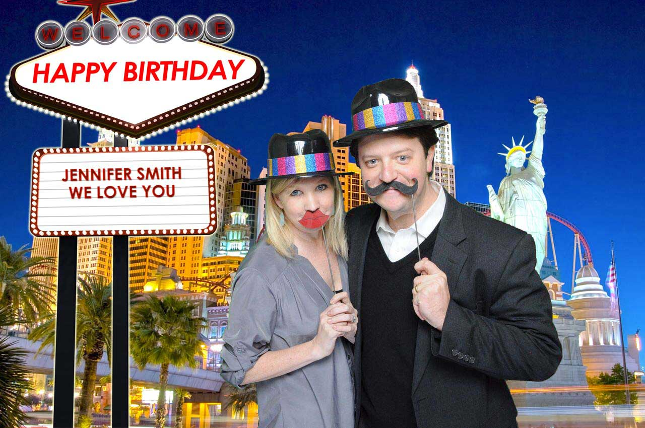 Green Screen Vegas Couple Choose Photo Booth Backgrounds